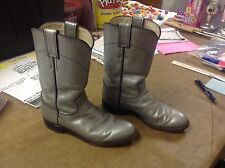 Justin Silver Leather Cowboy Western Roper Boots Riding Dancing Sz 5.5 B U.S.A.