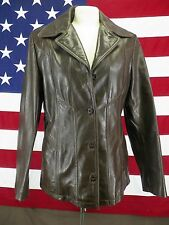 Wilsons Maxima Leather Jacket Blazer Button Front Women's Brown Size Medium Nice
