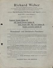 BERLIN SW 12, Werbung um 1900, Oel-Raffinerie, Fabrikation, Import Richard Weber