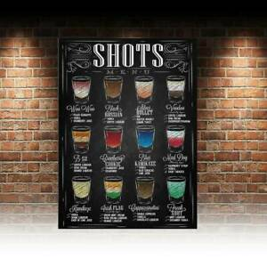 METAL WALL SIGN Shots Menu recipe home Bar Home ManCave beer garden cocktail