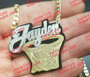 PERSONALIZED  14K GOLD PLATED  BASKETBALL NAME PLATE CHAIN NECKLACE  ANY color