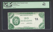 Somalia Uniface 20 Shillings 1966 Test Note Proof Uncirculated