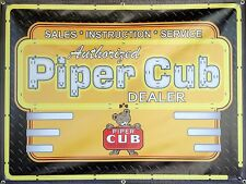 PIPER CUB AIRCRAFT AIRPLANE NEON STYLE PRINTED BANNER DEALER SIGN ART 4' X 3'
