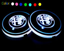 2x Colorful LED Car Cup Holder Pad Mat Lights For Alfa Romeo Auto Interior Light