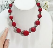 Vintage Red Bead and Copper  Rolo Chain Choker Necklace
