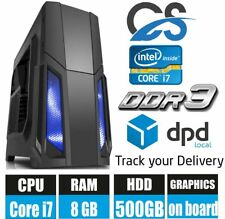 Rapide Ordinateur de Bureau Tour Pc Intel Core i7 2600 @ 3.40GHz Windows 10 8GB