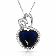 4.20 Carat Halo Blue Sapphire Double Heart Gemstone Pendant & Necklace14K W Gold