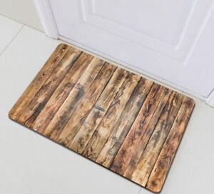 Rustic Wood Plank Texture Floor Carpet Non-skid Door Bath Mat Room Decor Rugs