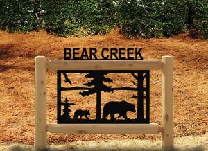 PERSONALIZED BEAR AND BEAR CUB CEDAR LOG SIGN