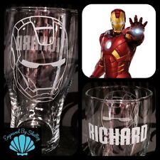 Personalised Marvel Iron Man Pint Glass Gift For Him Hand Engraved With Any Name