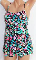 *Swim Solutions Multi-Color One Piece Swimdress Swimsuit Size 8 #S28