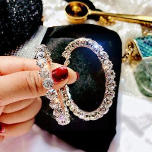 925 Sterling Silver Hoop Diamond Earring Large 5.5cm Fashionable Jewelry