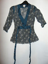 Whistles Patterned Womens Top Sheer Lightweight SILK Blouse Size 8