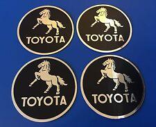 "4 Shiny TOYOTA 2"" VINTAGE Decal Sticker Decorative Tool Box Customize Center Hub"