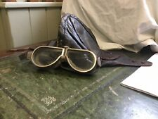 More details for antique brown leather skull cap & fur lined goggles, military ww2 or automotive