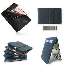 Faux Leather Money Clip Slim Wallet Men's ID Credit Card Holder Case Purse