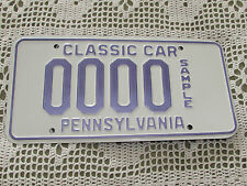 Pennsylvania USA Number / License Plate - SAMPLE CLASSIC CAR - Rare