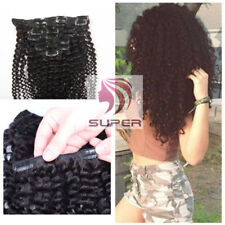 Remy 10pcs 120g Afro Kinky Curly Clip in Real Human Hair Weft Extensions Black