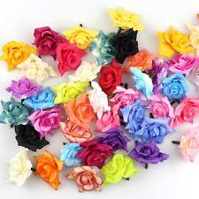 "10/100Pcs 2""Artificial Fake Flower Head Silk Rose Heads Bulk Wedding Home Decor"
