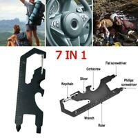 1PC Portable Multi-Tool Outdoor Camping Gear Wrench Slicer Keychain Card Z0L2