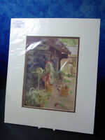 Vintage coloured ART PRINT c1922 A Zorn - Woman at agricultural mill gathering