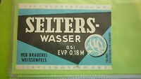 OLD EAST GERMAN SOFT DRINK CORDIAL LABEL, WEISSENFELS BREWERY, SELTERS