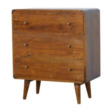 New : AF Range : Solid Wood 3 Drawer Curved Chest of Drawers : Cabinet