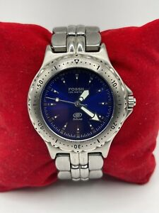 Fossil Blue Dial Analog Watch Unisex Silver Slim Clasp Band AM-3175 [061GRA]