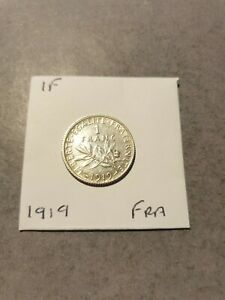French Republic 1919 Silver One Franc Coin