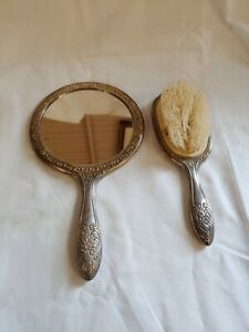 Antique Sterling Silver Mirror and Brush Vanity Set