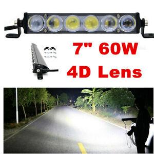 "1x 7""inch 60W LED Work Light Bar SPOT Offroad For 4WD Pickup Fog Truck Boat"