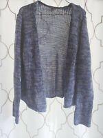 J Jill Large Open Front Cardigan Blue Crochet Knit Long Sleeve 100% Cotton Top