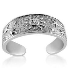Sun and Shooting Stars Toe Ring Solid Sterling Silver 925 Adjustable Jewelry