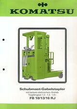 Komatsu Schubmast Gabelstapler FB 10 13 16 Prospekt 1982 brochure forklift Japan