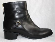 L.K. Bennett of London Black Leather Ankle Boots w/Adj. Strap Back Zip Italy 41