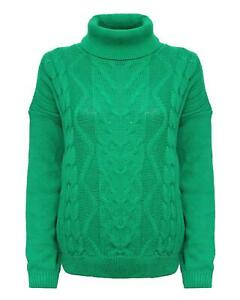 Ladies Women Knitted Ribbed Polo Turtle Neck Cable Knit Jumper Sweater Pullover
