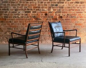 Ole Wanscher Model 149 Rosewood Colonial Chairs Pair by Poul Jeppesens Denmark