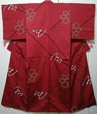 Woman, Japanese Kimono, Komon, Silk, Red, Abstract