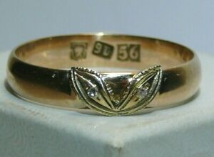 56 ,14K Solid Gold Diamonds Ring Imperial Russia 1880