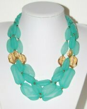 AQUA BLUE GREEN AND AMBER COLOR LARGE FACETED ACRYLIC BEADS STATEMENT NECKLACE