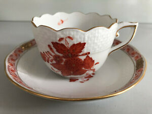 Herend CHINESE BOUQUET 711 AOG Orange MOCHA CUP and SAUCER Never used Apponyi