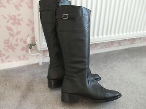 LADIES LONG BLACK LEATHER RIDING BOOTS SIZE UK 6 by ROGER MILTON, SPAIN