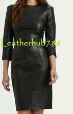 New Dress Black Genuine Lambskin Pure Leather Sexy Cocktail Party Casual Wear 54