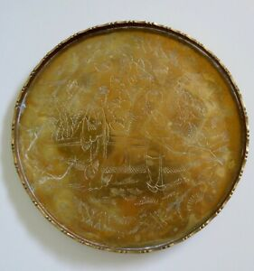 Vintage / Antique  Handcrafted Chinese Brass/ Bronze ETCHED Embossed Tray