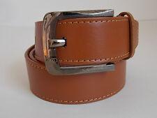 "M Size 34-36 Men's Tan Double Stitched Genuine Leather Belt Width 1 1/2"""