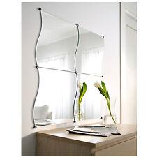 Pack of 4 Wavy Edged Glass Wall Mounted Mirror Tiles Bathroom Hallway Bedroom