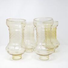 Vintage Hurricane Funnel Etched Yellow Glass Chimney Lamp Shades Chandelier x 4