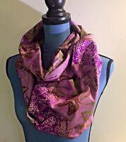 "Full Circle Batik Infinity Scarf Handmade Purple & Green 66"""