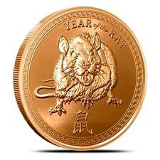 2020 Chinese Zodiac Year Of The Rat 1 oz .999 Copper USA Made BU Bullion Round