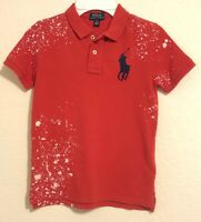 NWT Polo Ralph Lauren Boys Distressed Cotton Mesh Polo Shirt Red Big Pony Size 6